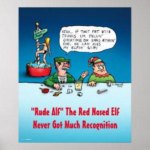 Rude Alf the Elf Funny Cartoon Christmas Poster