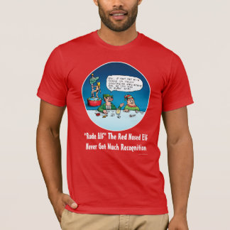 Rude Alf The Red Nosed Elf Funny Cartoon T-Shirt