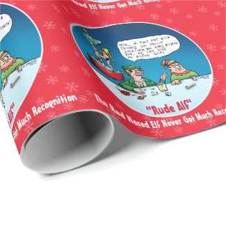 Rude Alf The Red Nosed Elf Funny Cartoon Wrapping Paper