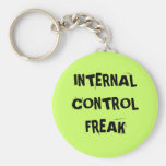 Rude Auditor Accountant Name - Control Freak Basic Round Button Keychain
