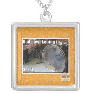 Rude awakening in square pendant necklace