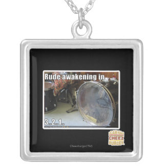 Rude awakening in silver plated necklace