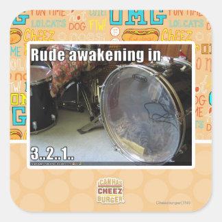 Rude awakening in square sticker