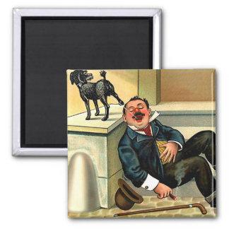 RUDE AWAKENING - Vintage Dog Art 2 Inch Square Magnet