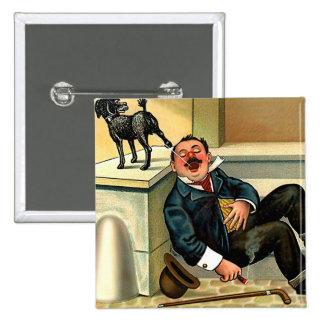 RUDE AWAKENING - Vintage Dog Art Pinback Button