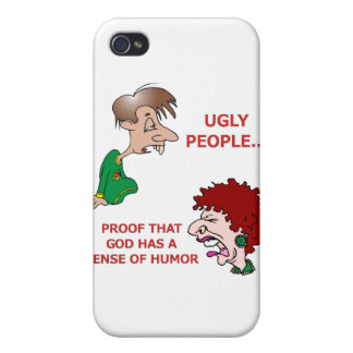 Rude But Funny Ugly People God Sense of Humor iPhone 4/4S Case