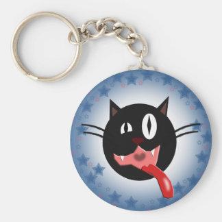 rude cat basic round button keychain