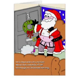 Rude Christmas Card - Santa in Stockings