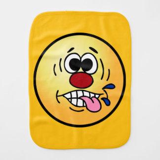 Rude Smiley Face Grumpey Baby Burp Cloth