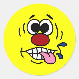 Rude Smiley Face Grumpey Classic Round Sticker