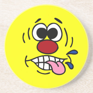 Rude Smiley Face Grumpey Drink Coaster