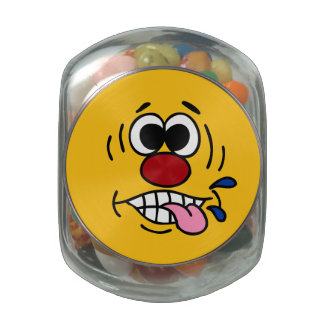 Rude Smiley Face Grumpey Glass Candy Jar