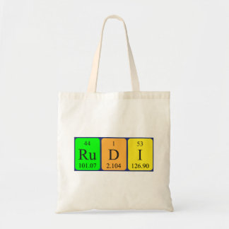 Rudi periodic table name tote bag