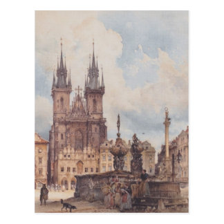 Rudolf Alt- View of the Old Town Square Postcard