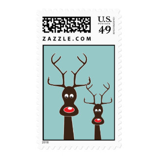 RUDOLF AND FAMILY STAMP BROWN + Blue