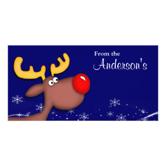 Rudolf Christmas Greeting Custom Photo Card