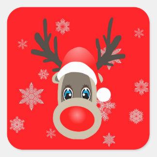 Rudolf - Christmas reindeer Square Sticker