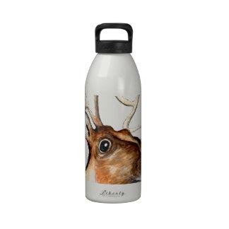 Rudolf el reno sospechado rojo botella de agua reutilizable