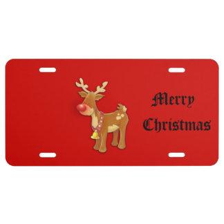 Rudolf Reindeer Christmas License Plate