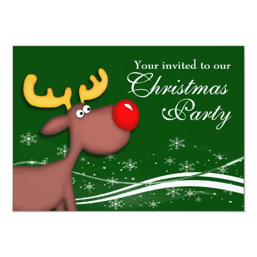 Rudolf Reindeer Company Christmas Party 5x7 Paper Invitation Card