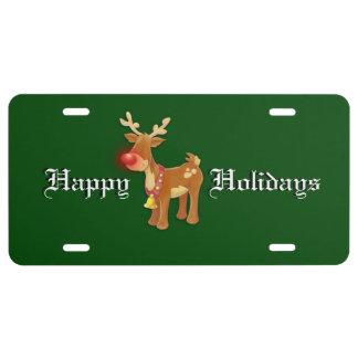 Rudolf Reindeer Holiday License Plate