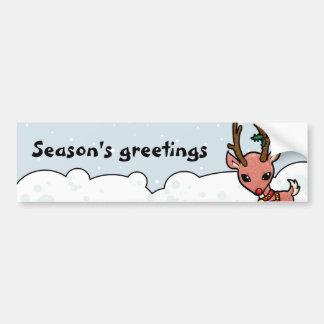 Rudolf sazona navidad de los saludos pegatina para auto