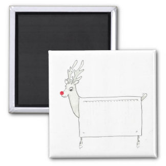 Rudolf the Red Nosed Radiator 2 Inch Square Magnet
