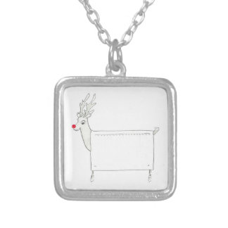 Rudolf the Red Nosed Radiator Square Pendant Necklace