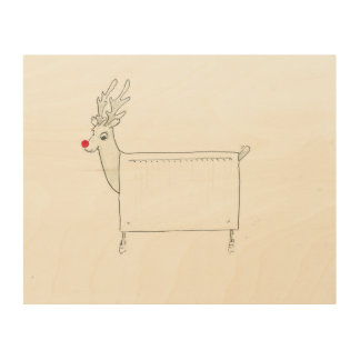 Rudolf the Red Nosed Radiator Wood Print