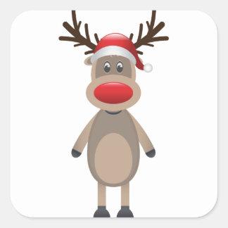 Rudolf the Reindeer Christmas Cute Design Square Sticker
