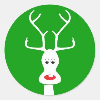 RUDOLF TIE WHITE + GREEN CLASSIC ROUND STICKER