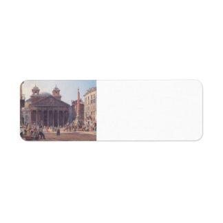 Rudolf von Alt- The Pantheon and the Piazza della Labels