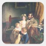 Rudolf von Arthaber con sus niños Rudolf Pegatina Cuadrada