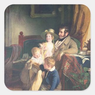 Rudolf von Arthaber  with his Children Rudolf Square Sticker