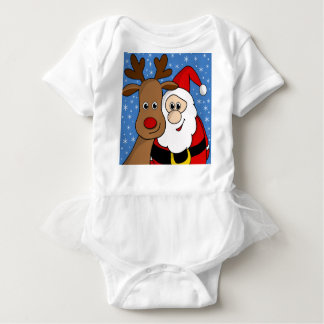 Rudolph and Santa selfie Baby Bodysuit