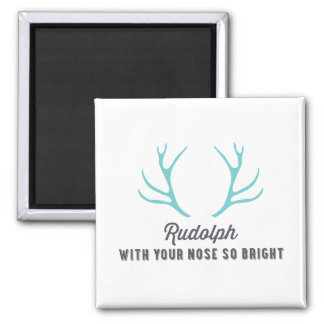 Rudolph Antlers | Blue 2 Inch Square Magnet