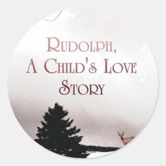 rudolph book cover classic round sticker