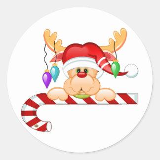 Rudolph Candy Cane Round Sticker