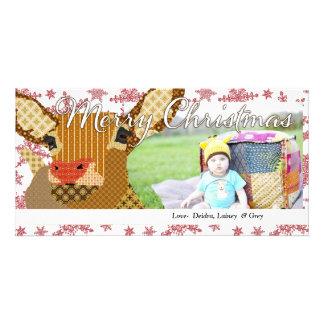 Rudolph Christmas Snowflake Photo Card