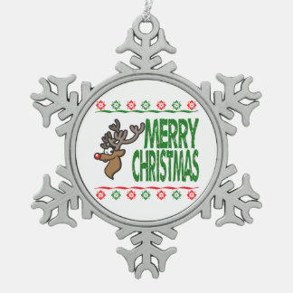 Rudolph Deer Merry Christmas Ugly Sweater Ornament Ornaments