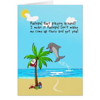 Rudolph el delfín con la nariz roja tarjetón