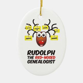 Rudolph el Genealogist con la nariz roja Ornamento De Navidad