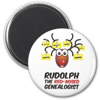 Rudolph el Genealogist con la nariz roja Imán De Frigorífico