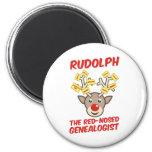 Rudolph el Genealogist con la nariz roja Imán De Frigorifico