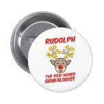 Rudolph el Genealogist con la nariz roja Pin