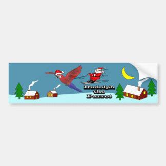 Rudolph el loro etiqueta de parachoque