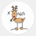 Rudolph el pegatina sospechado rojo del reno