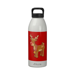 Rudolph el reno sospechado rojo botellas de agua reutilizables