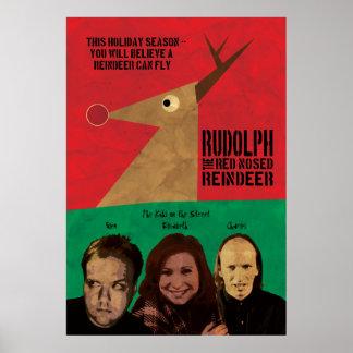 Rudolph el reno sospechado rojo - una junta del poster
