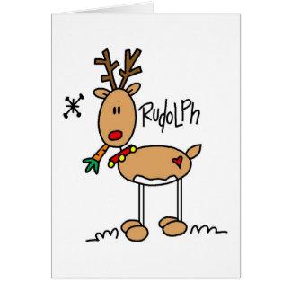 Rudolph el rojo sospechó la tarjeta de Reigndeer